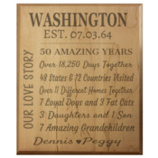 "Anniversary - 10"" x 12"" Wooden Plaque - Laser Engraved"